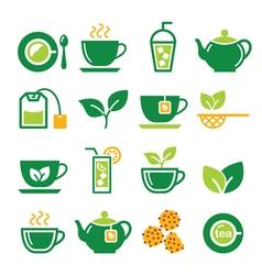Green tea and ice tea icons set vector