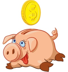 happy Pig Piggy Bank vector image