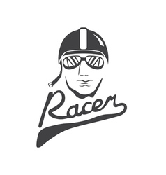 head of racer vintage design template vector image