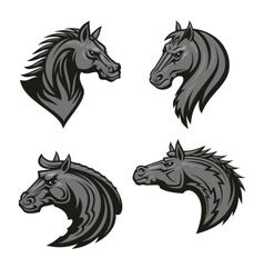 Horse head heraldic emblem vector image vector image