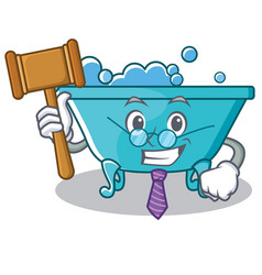 Judge bathtub character cartoon style vector