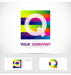 Letter q colored stripes logo vector image