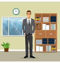 Man business office work bookshelf plant pot clock vector
