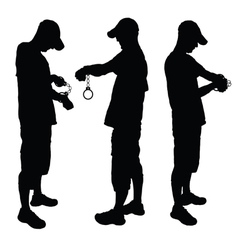 Man with handcuff black vector