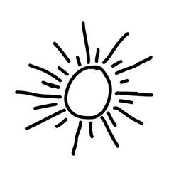 Monochrome contour with abstract sun vector