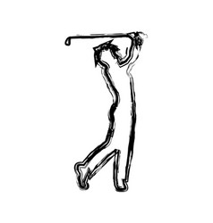 Monochrome sketch of male golf player vector