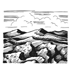 Mountains and rock against the sky with clouds vector