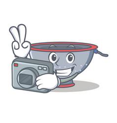 Photographer colander utensil character cartoon vector