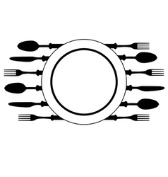 Plate with cutlery vector image vector image