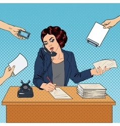 Pop Art Multitasking Busy Business Woman at Office vector image