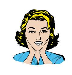 Portrait blonde woman pop art surprised expression vector
