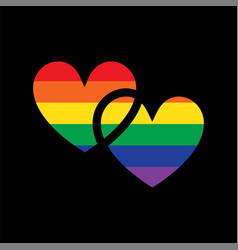 pride interlocking rainbow hearts vector image