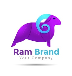 Ram silhouette colorful 3d volume logo design vector