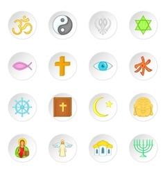 Religion symbols icons set cartoon style vector