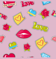 Seamless pattern with lips roses hearts diamond vector