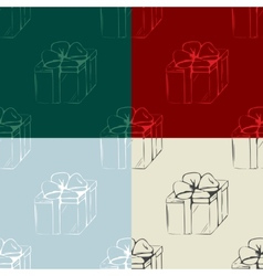 Set of gift boxes seamless patterns vector image vector image