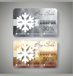Silver and gold christmas sale coupons vector