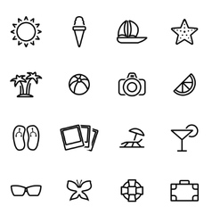 thin line icons - summer vector image