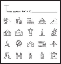 Travel element line icon set 10landmark thin icons vector