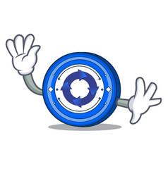 Waving cryptonex coin character cartoon vector