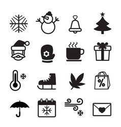 winter season icon symbol set vector image vector image