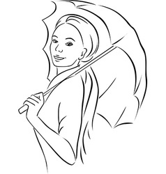 young woman with parasol - black outline vector image