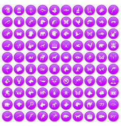 100 animals icons set purple vector