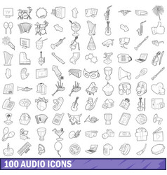 100 audio icons set outline style vector image