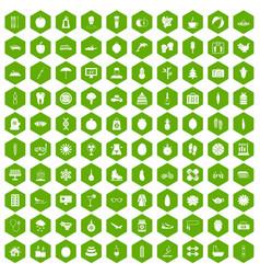 100 women health icons hexagon green vector