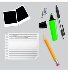 Various office supplies on business theme vector