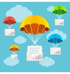 Mail delivery parachute in sky vector