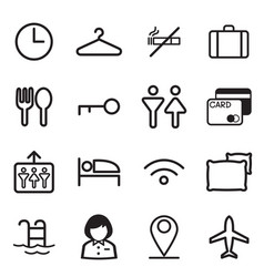 Hotel hostel motel icons symbol vector