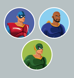 Set superhero comic protect avatar icons vector