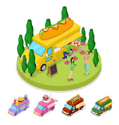 isometric street food hot dog truck with people vector image