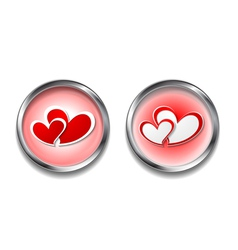 Abstract button with hearts vector image