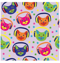 Seamless pattern of colored cats vector