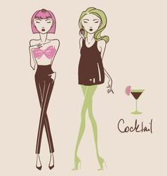 fashion girls hand drawn vector image