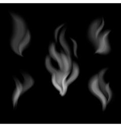 Realistic smoke design Set of smoke on black vector image