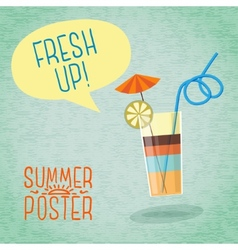 Cute summer poster - cocktail with umbrella lemon vector