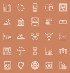 Stock market line icons on brown background vector