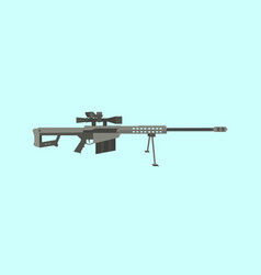 50cal caliber sniper rifle big gun with flat style vector image