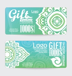 Gift voucher with line thai design vector