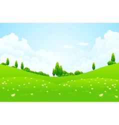 Lush green fields vector