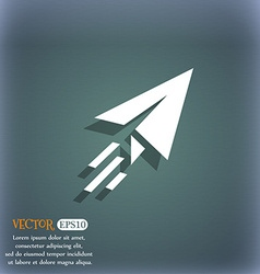 Paper airplane icon symbol on the blue-green vector