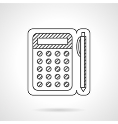 Line calculator and pen icon vector
