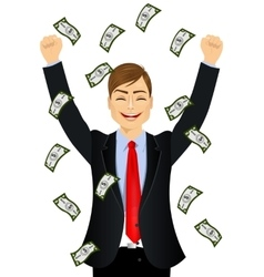 businessman happy seeing raining money bills vector image