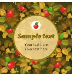 Card with apple and round frame for text vector