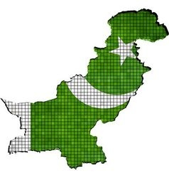 Pakistan map with flag inside vector