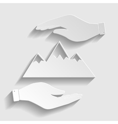 Mountain sign paper style icon vector