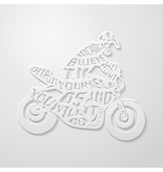 Flat lettering motorcyclist vector
